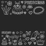 Εικονίδια Doodle πριγκηπισσών για το ντους μωρών, κατάστημα παιχνιδιών Στοκ φωτογραφία με δικαίωμα ελεύθερης χρήσης
