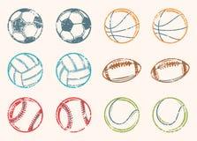 Εικονίδια Grunge αθλητικών σφαιρών Στοκ Εικόνα