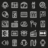 Εικονίδια MEDIA που τίθενται στο μαύρο υπόβαθρο Στοκ φωτογραφία με δικαίωμα ελεύθερης χρήσης