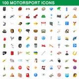 100 εικονίδια motorsport καθορισμένα, ύφος κινούμενων σχεδίων Στοκ Φωτογραφία