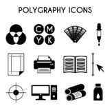 Εικονίδια Polygraphy Στοκ εικόνα με δικαίωμα ελεύθερης χρήσης