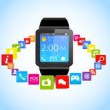 Εικονίδια Smartwatch και εφαρμογής Στοκ φωτογραφία με δικαίωμα ελεύθερης χρήσης
