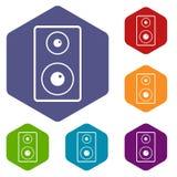 Εικονίδια Subwoofer καθορισμένα hexagon Στοκ Εικόνα