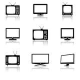 Εικονίδια TV που τίθενται Στοκ Εικόνα