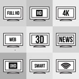 Εικονίδια TV που τίθενται Στοκ εικόνα με δικαίωμα ελεύθερης χρήσης