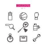Εικονίδια Workout που τίθενται για τον Ιστό και τις εφαρμογές Στοκ φωτογραφία με δικαίωμα ελεύθερης χρήσης