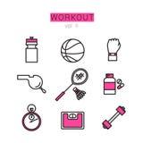 Εικονίδια Workout που τίθενται για τον Ιστό και τις εφαρμογές Στοκ Εικόνες