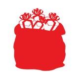 Εικονίδιο Άγιου Βασίλη τσαντών Μεγάλος σάκος με το επίπεδο ύφος δώρων Σημάδι για το Γ Στοκ εικόνα με δικαίωμα ελεύθερης χρήσης