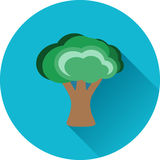 Εικονίδιο δέντρων με το μακροχρόνιο χρώμα σκιών ελεύθερη απεικόνιση δικαιώματος