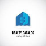 Εικονίδιο ή λογότυπο συμβόλων έννοιας καταλόγων ακίνητων περιουσιών διανυσματική απεικόνιση