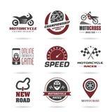 Εικονίδιο αγώνα μοτοσικλετών καθορισμένο - 2 Στοκ Εικόνες