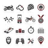 Εικονίδιο αγώνα μοτοσικλετών καθορισμένο - 3 Στοκ Εικόνες