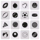Εικονίδιο αθλητικών σφαιρών που τίθεται πλήκτρο το ΟΝ υπόβαθρο Στοκ εικόνα με δικαίωμα ελεύθερης χρήσης