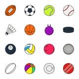 Εικονίδιο αθλητικών σφαιρών που τίθεται στο άσπρο υπόβαθρο Στοκ εικόνες με δικαίωμα ελεύθερης χρήσης