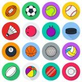 Εικονίδιο αθλητικών σφαιρών που τίθεται στο άσπρο υπόβαθρο Στοκ Εικόνες
