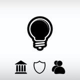 Εικονίδιο λαμπών φωτός, διανυσματική απεικόνιση Επίπεδο ύφος σχεδίου Στοκ φωτογραφία με δικαίωμα ελεύθερης χρήσης