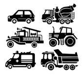 Εικονίδιο αυτοκινήτων, μαύρο διανυσματικό σύνολο μεταφορών Στοκ Εικόνες