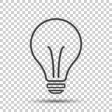 Εικονίδιο αλόγονου lightbulb Σημάδι λαμπών φωτός Ηλεκτρική ενέργεια και ιδέα sy απεικόνιση αποθεμάτων
