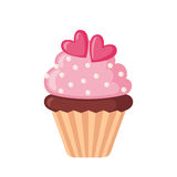Εικονίδιο βαλεντίνων cupcake με τις καρδιές ελεύθερη απεικόνιση δικαιώματος