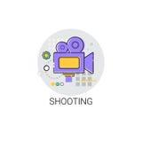 Εικονίδιο βιομηχανίας παραγωγής ταινιών καμερών πυροβολισμού Στοκ Φωτογραφίες