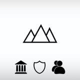 Εικονίδιο βουνών, διανυσματική απεικόνιση Επίπεδο ύφος σχεδίου Στοκ Εικόνες