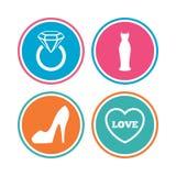 Εικονίδιο γαμήλιων φορεμάτων Women& x27 σύμβολο παπουτσιών του s Στοκ εικόνες με δικαίωμα ελεύθερης χρήσης