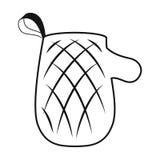 Εικονίδιο γαντιών φούρνων στο μαύρο ύφος που απομονώνεται στο άσπρο υπόβαθρο Διανυσματική απεικόνιση αποθεμάτων συμβόλων πικ-νίκ Στοκ Εικόνες