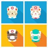 Εικονίδιο γιατρών γατών επίπεδο Στοκ Φωτογραφίες