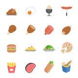 Εικονίδιο γραμμών καθορισμένο - δυτικά τρόφιμα ελεύθερη απεικόνιση δικαιώματος