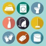 Εικονίδιο γραμμών της καθαρίζοντας υπηρεσίας για τα εμβλήματα Ιστού, ιστοχώροι διανυσματική απεικόνιση