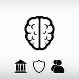 Εικονίδιο εγκεφάλου, διανυσματική απεικόνιση Επίπεδο ύφος σχεδίου Στοκ εικόνες με δικαίωμα ελεύθερης χρήσης