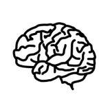 Εικονίδιο εγκεφάλου που απομονώνεται στο άσπρο υπόβαθρο Στοκ εικόνα με δικαίωμα ελεύθερης χρήσης