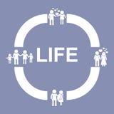 Εικονίδιο εικονογραμμάτων σκηνικής ανάπτυξης διαδικασίας κύκλων ανθρώπινης ζωής, για την παρουσίαση σχεδίου μέσα Στοκ φωτογραφίες με δικαίωμα ελεύθερης χρήσης