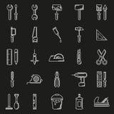Εικονίδιο εργαλείων εργασίας που τίθεται στο μαύρο υπόβαθρο Στοκ εικόνα με δικαίωμα ελεύθερης χρήσης