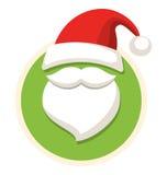 Εικονίδιο ετικετών Χριστουγέννων κύκλων επίπεδο με το καπέλο και τη γενειάδα Isolat Santa Στοκ Εικόνα