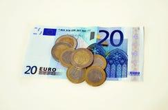 Εικονίδιο ευρώ, εκτός από την έννοια χρημάτων, έννοια χρέους Στοκ εικόνα με δικαίωμα ελεύθερης χρήσης