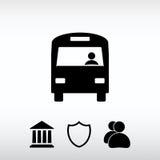 Εικονίδιο λεωφορείων, διανυσματική απεικόνιση Επίπεδο ύφος σχεδίου Στοκ φωτογραφία με δικαίωμα ελεύθερης χρήσης