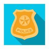 Εικονίδιο διακριτικών αστυνομίας στο επίπεδο ύφος που απομονώνεται στο άσπρο υπόβαθρο Διανυσματική απεικόνιση αποθεμάτων συμβόλων Διανυσματική απεικόνιση