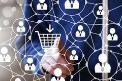 Εικονίδιο Ιστού κάρρων αγορών κουμπιών Τύπου χεριών Στοκ φωτογραφία με δικαίωμα ελεύθερης χρήσης