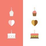 Εικονίδιο κέικ γενεθλίων Στοκ Εικόνα