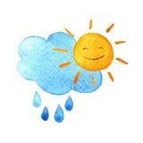 Εικονίδιο καιρικού watercolor Χαριτωμένος ήλιος, πτώσεις και σύννεφο χαμόγελου Χρωματισμένη χέρι απεικόνιση Στοκ Εικόνες
