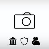 Εικονίδιο καμερών  διανυσματική απεικόνιση Επίπεδο ύφος σχεδίου Στοκ εικόνες με δικαίωμα ελεύθερης χρήσης