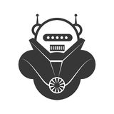 Εικονίδιο κινούμενων σχεδίων ρομπότ Σχέδιο μηχανών σαν διανυσματικά κύματα στροβίλου ανασκόπησης διακοσμητικά γραφικά τυποποιημέν απεικόνιση αποθεμάτων