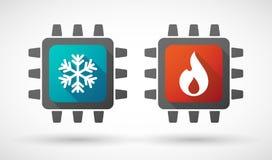 Εικονίδιο ΚΜΕ που τίθεται με τα σημάδια πυρκαγιάς και πάγου Στοκ Εικόνες