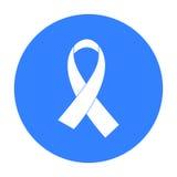 Εικονίδιο κορδελλών του AIDS στο μαύρο ύφος που απομονώνεται στο άσπρο υπόβαθρο Διανυσματική απεικόνιση αποθεμάτων συμβόλων φαρμά Στοκ Φωτογραφία