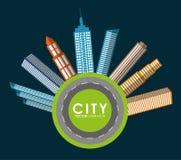 Εικονίδιο κτηρίου και πύργων Σχέδιο πόλεων σαν διανυσματικά κύματα στροβίλου ανασκόπησης διακοσμητικά γραφικά τυποποιημένα Στοκ Εικόνα