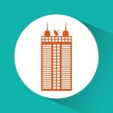 Εικονίδιο κτηρίου και πύργων Σχέδιο πόλεων σαν διανυσματικά κύματα στροβίλου ανασκόπησης διακοσμητικά γραφικά τυποποιημένα Στοκ Φωτογραφία