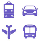Εικονίδιο μεταφορών που τίθεται με το τραίνο, το αεροπλάνο, το αυτοκίνητο και το λεωφορείο Στοκ φωτογραφία με δικαίωμα ελεύθερης χρήσης