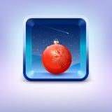 Εικονίδιο με την κόκκινη σφαίρα Χριστουγέννων, νυχτερινός ουρανός και Στοκ Εικόνες
