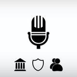 Εικονίδιο μικροφώνων, διανυσματική απεικόνιση Επίπεδο ύφος σχεδίου Στοκ φωτογραφία με δικαίωμα ελεύθερης χρήσης
